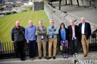 History Ireland Hedge School Derry The speakers and organisers of the recent History Ireland Hedge School photographed, just before the event, on the Derry Walls. From left: Dr John Gibney, online editor for the 'Decade of Centenaries' website; Mark Lusby, Heritage Officer, City Walls Heritage Project; Dr Breandán MacSuibhne, Assistant Professor of History, Centenary College, New Jersey; Tommy Graham, Editor of History Ireland; Dr Sylvie Kleinman, Centre for War Studies, Trinity College Dublin; Professor Ian McBride, Professor of Irish and British History, King's College, London; and John Neil Vice-President, The Irish Association. Photocredit STEPHEN LATIMER PHOTOGRAPHY